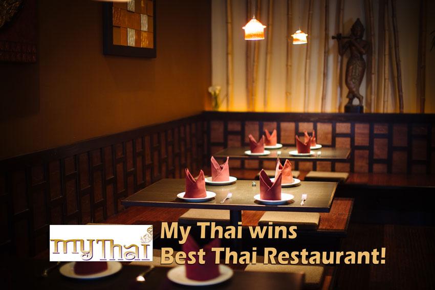 My Thai - My Thai Wins Again - My Thai Restaurant interior, logo and texts.