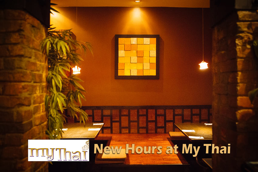 New Hours and Dine-in at My Thai - My Thai interior, logo and text.