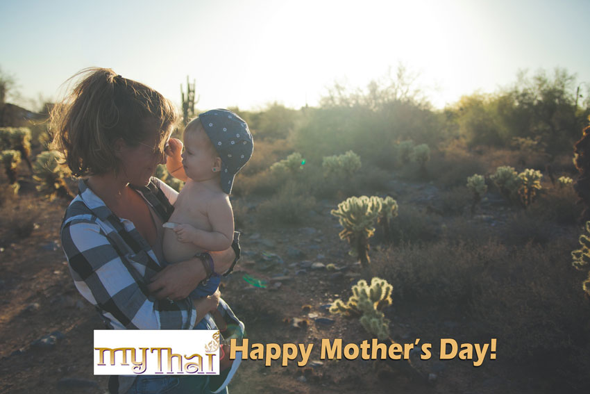 My Thai - Happy Mother's Day - A mom with her baby, logo and text.